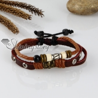 adjustable genuine leather charm bracelets unisex
