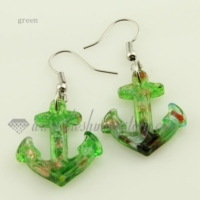 anchor glitter lampwork murano glass earrings jewelry