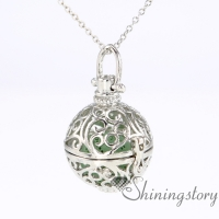 ball heart locket necklace aromatherapy vaporizer locket silver essential oil diffuser necklace diy metal volcanic stone openwork necklaces