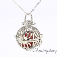 ball silver heart locket essential oils for aromatherapy family locket diffuser necklace supplies metal volcanic stone openwork necklaces