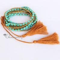 beaded tassel bracelet beaded wrap bracelets turquoise semi precious stone friendship best friends bracelets tassel multi layer layer bracelets jewelry