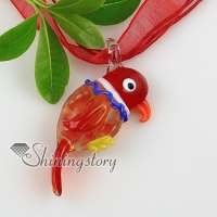 bird flowers inside itailian lampwork murano glass necklaces pendants