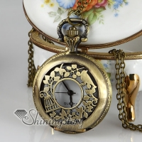 bird openwork long chain pocket watch pendants necklaces