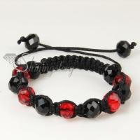 black alternating macrame crystal beads bracelets jewelry
