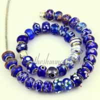 blue lampwork glass european beads for fit charms bracelets