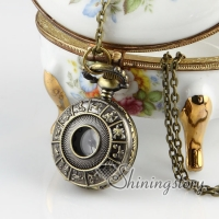 bras antique style constellations pocket watch pendant long chain necklaces