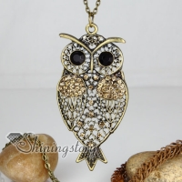 brass antique style and crystal rhinestone openwork night owl pendant long chain necklaces