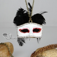 brass antique style crystal rhinestone mask feather pendant long chain necklaces