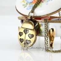 brass antique style ladybug heart pocket watch pendant long chain necklaces