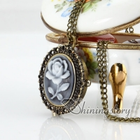 brass antique style openwork cameo rose pocket watch pendant long chain necklaces