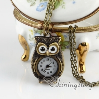 brass antique style owl pocket watch pendant long chain necklaces for men and women unisex