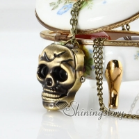 brass antique style skull pocket watch pendant long chain necklaces for men and women unisex