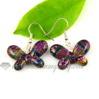 butterfly handmade murano dichroic glass earrings jewelry