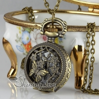 butterfly long chain pocket watch pendants necklaces