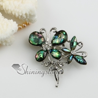 butterfly sea water rainbow abalone shell and rhinestone brooch