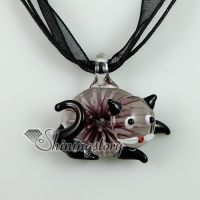 cat murano glass necklaces pendants flowers inside lampwork
