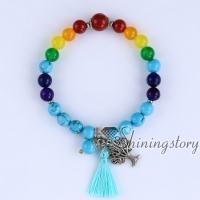 chakra bracelet with tassel 7 chakra balancing jewelry tree of life charm bracelets japa malas meditation beads