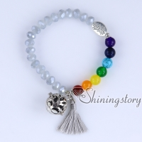 chakra bracelet with tassel locket bracelet 7 chakra healing jewelry tree of life jewelry meditation beads