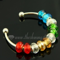 charms bangle bracelets with rainbow crystal big hole beads