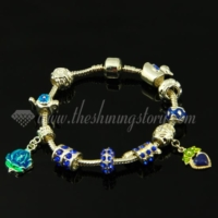 charms bracelets with european enamel large hole beads