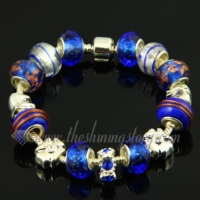 charms bracelets with murano glass crystal rhinestone beads