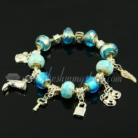 charms silver bracelets with european murano glass beads