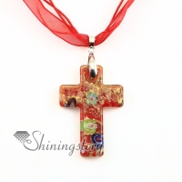 christian cross pendants glitter millefiori lampwork murano glass necklace necklaces pendants high fashion jewelry handmade jewelry