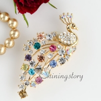 colorful peacock rhinestone scarf brooch pin jewelry