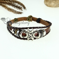 cross charm genuine leather wrap bracelets unisex