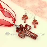 cross foil venetian murano glass pendants and earrings jewelry
