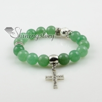 cross semi precious stone amethyst agate turquoise jade rose quartz charm stretch bracelets