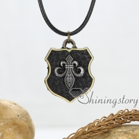 crossbones skull fleur de lis genuine leather metal necklaces with pendants