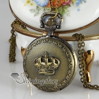 crown long chain pocket watch pendants necklaces