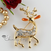 deer enameled rhinestone scarf brooch pin jewellery