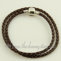 double leather european bracelets fit for charms beads