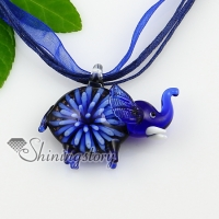 elephant flowers inside lampwork murano italian venetian handmade glass necklaces pendants
