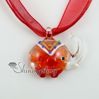 elephant murano glass necklaces pendants with flowers inside