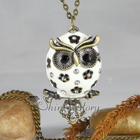 enamel night owl antique long chain pendants necklaces