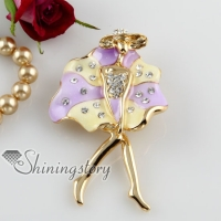 enameled beauty rhinestone scarf brooch pin jewelry