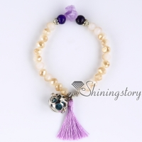 essential oil bracelet natural rough amethyst diffuser bracelet with tassel mala bracelet healing crystal jewelry crystal healing