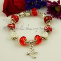 european charms bracelets with murano glass crystal beads