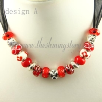 european charms necklaces with lampwork glass crystal beads