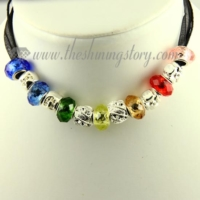 european charms necklaces with rainbow crystal beads