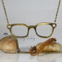 eyeglass copper antique long chain pendants necklaces