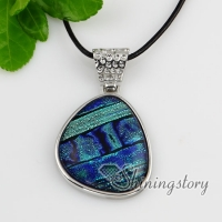 fancy color dichroic foil glass necklaces with pendants jewelry silver plated