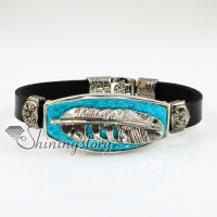 feather fleur de lis snap wrap bracelets genuine leather