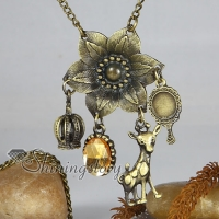 flower brass antique long chain pendants necklaces