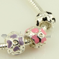 flower enamel european large hole charms fit for bracelets
