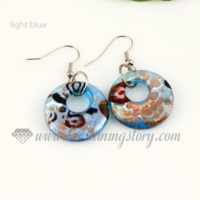 flower foil lampwork murano glass earrings jewelry