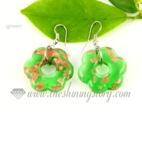 flower glitter lampwork murano glass earrings jewelry